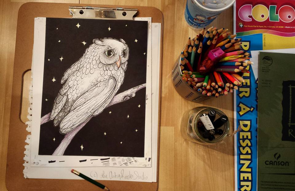 day-23-the-night-owl-drawing-c-the-artsy-rooster-studio-llc